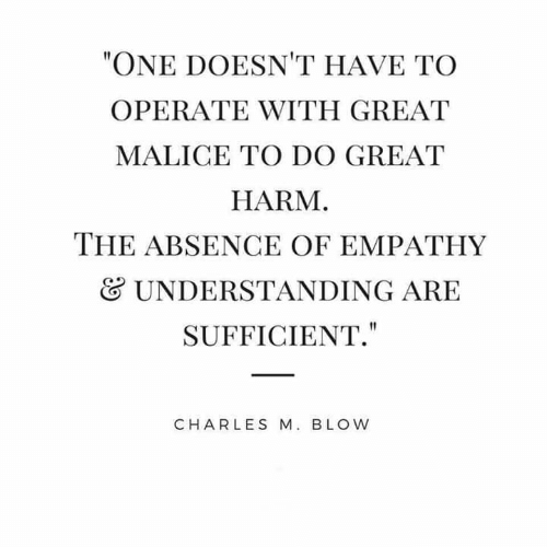 """Empathy: """"ONE DOESN'T HAVE TO  OPERATE WITH GREAT  MALICE TO DO GREAT  HARM.  THE ABSENCE OF EMPATHY  UNDERSTANDING ARE  SUFFICIENT.""""  CHARLES M. BLOW"""