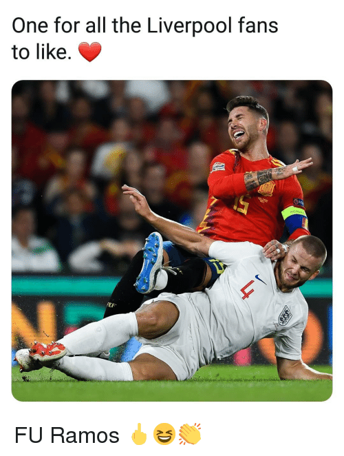 Memes, Liverpool F.C., and All The: One for all the Liverpool fans  to like.  NOTO  FEF FU Ramos 🖕😆👏