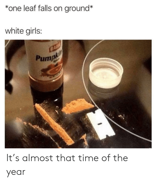 Girls, Time, and White: *one leaf falls on ground*  white girls:  CAD  Pumpki It's almost that time of the year