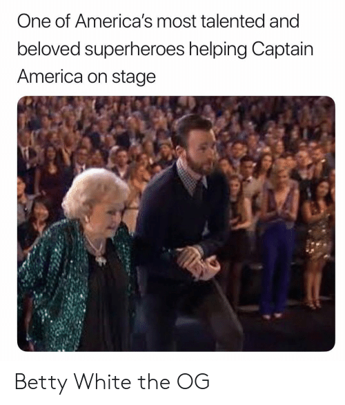 America, Betty White, and White: One of America's most talented and  beloved superheroes helping Captain  America on stage Betty White the OG