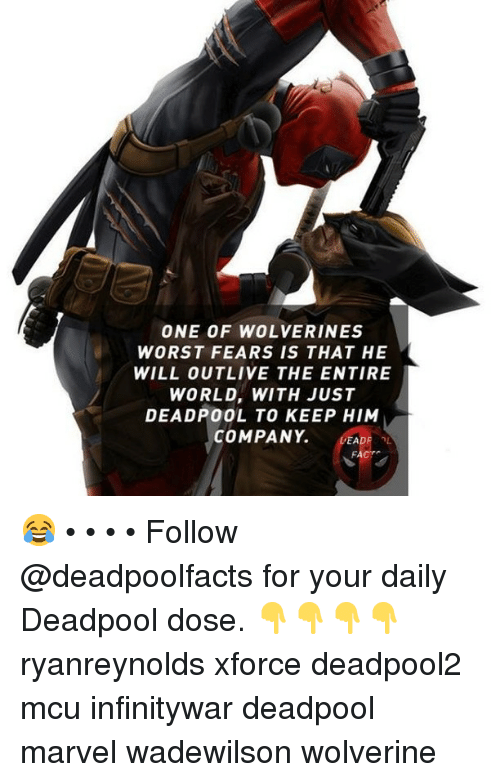 Memes, Wolverine, and Deadpool: ONE OF WOLVERINES  WORST FEARS IS THAT HE  WILL OUTLIVE THE ENTIRE  WORLD, WITH JUST  DEADPOOL TO KEEP HIM  COMPANY. EADF 😂 • • • • Follow @deadpoolfacts for your daily Deadpool dose. 👇👇👇👇 ryanreynolds xforce deadpool2 mcu infinitywar deadpool marvel wadewilson wolverine
