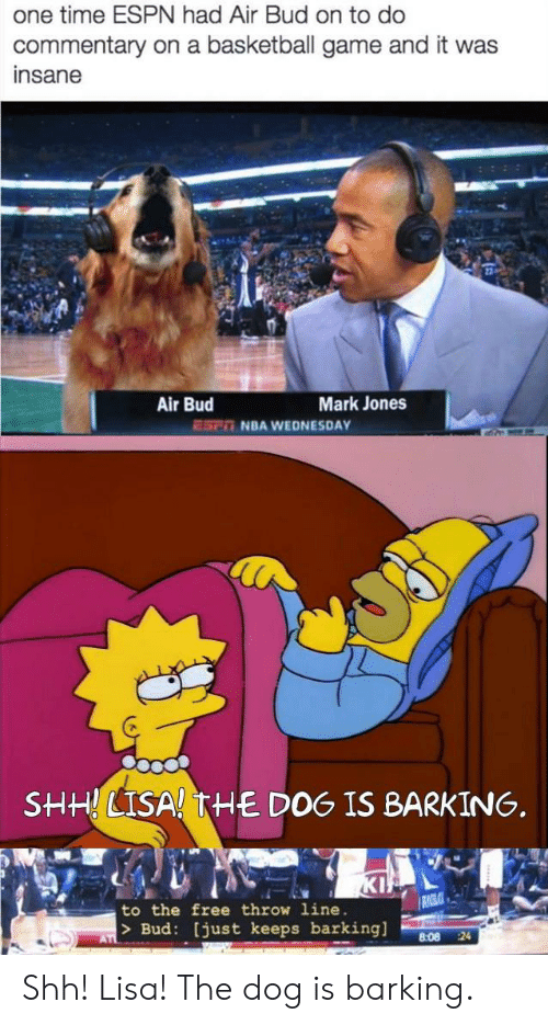 Basketball, Espn, and Nba: one time ESPN had Air Bud on to do  commentary on a basketball game and it was  insane  Air Bud  Mark Jones  NBA WEDNESDAY  ESP  SHHLISA! THE DOG IS BARKING.  KI  to the free throw 1ine  >Bud: [just keeps barking]  AT  24  8:08 Shh! Lisa! The dog is barking.