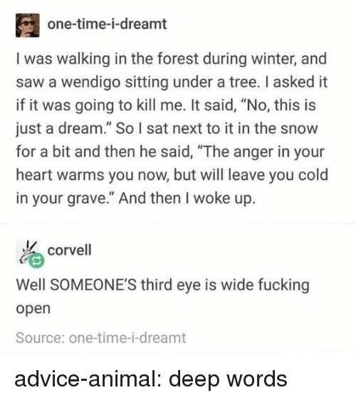 """open source: one-time-i-dreamt  I was walking in the forest during winter, and  saw a wendigo sitting under a tree. I asked it  if it was going to kill me. It said, """"No, this is  just a dream."""" So I sat next to it in the snow  for a bit and then he said, """"The anger in your  heart warms you now, but will leave you cold  in your grave."""" And then I woke up.  corvell  Well SOMEONE'S third eye is wide fucking  open  Source: one-time-i-dreamt advice-animal:  deep words"""