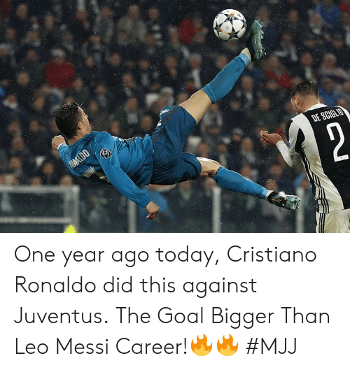 Cristiano Ronaldo, Goal, and Juventus: One year ago today, Cristiano Ronaldo did this against Juventus.  The Goal Bigger Than Leo Messi Career!🔥🔥   #MJJ