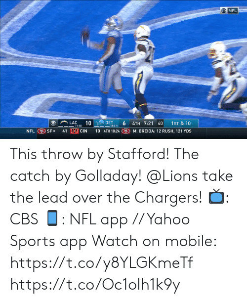 Memes, Nfl, and Sports: ONFL  LAC  DET  6  (0-0-1)  10  1ST &10  4TH 7:21 40  (1-0)  41 EB CIN  10 4TH 10:24  NFL SF  M. BREIDA: 12 RUSH, 121 YDS This throw by Stafford! The catch by Golladay!  @Lions take the lead over the Chargers!  📺: CBS 📱: NFL app // Yahoo Sports app Watch on mobile: https://t.co/y8YLGKmeTf https://t.co/Oc1olh1k9y