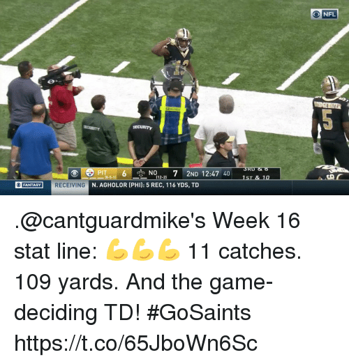 rec: ONFL  PIT6NO7 2ND 12:47 40  (12-2)  FANTASY  RECEIVING  N. AGHOLOR (PHI): 5 REC, 116 YDS, TD .@cantguardmike's Week 16 stat line: 💪💪💪  11 catches. 109 yards. And the game-deciding TD! #GoSaints https://t.co/65JboWn6Sc