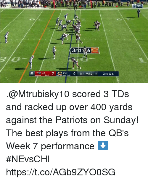 racked: ONFL  TNE4-2) 7CCHI3-210  1ST  9:448  3RD & 6 .@Mtrubisky10 scored 3 TDs and racked up over 400 yards against the Patriots on Sunday!  The best plays from the QB's Week 7 performance ⬇️ #NEvsCHI https://t.co/AGb9ZYO0SG