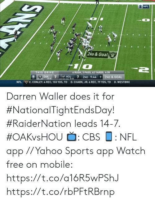Darren: ONFL  WAIDERS  2 RD&Goal  THIS DRIVE  6 RUSH, 3 PASS, 62 YARDS, 4:35  S OAK  7  2ND 9:44 9 2ND & GOAL  HOU  (4-3)  (3-3)  C. CONLEY: 4 REC, 103 YDS, TD  NFL  D. CHARK, JR: 6 REC, 79 YDS, TD  D. WESTBRO  SNO Darren Waller does it for #NationalTightEndsDay!   #RaiderNation leads 14-7. #OAKvsHOU  📺: CBS 📱: NFL app // Yahoo Sports app Watch free on mobile: https://t.co/a16R5wPShJ https://t.co/rbPFtRBrnp