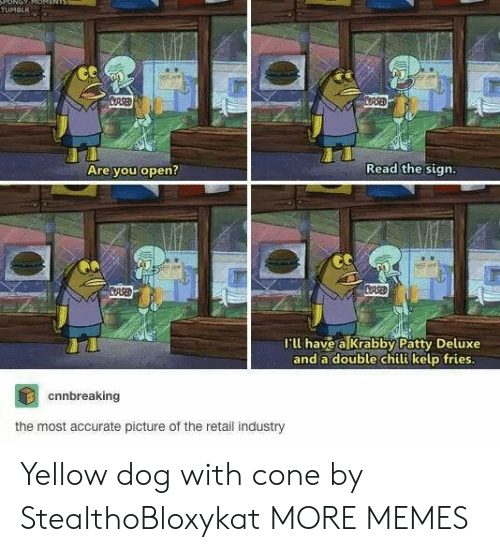 Dank, Memes, and Target: oNG  TUMBLR  CORSED  COASED  Read the sign.  Are you open?  CASED  CRSE  'l have a Krabby Patty Deluxe  and a double chili kelp fries.  cnnbreaking  the most accurate picture of the retail industry Yellow dog with cone by StealthoBloxykat MORE MEMES