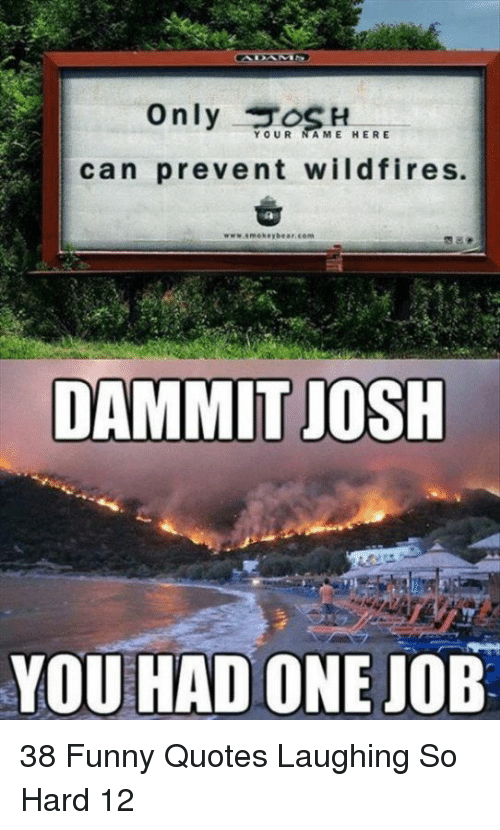 you had one job: Only H  can prevent wildfires.  YOUR A ME HERE  DAMMIT JOSH  YOU HAD ONE JOB 38 Funny Quotes Laughing So Hard 12