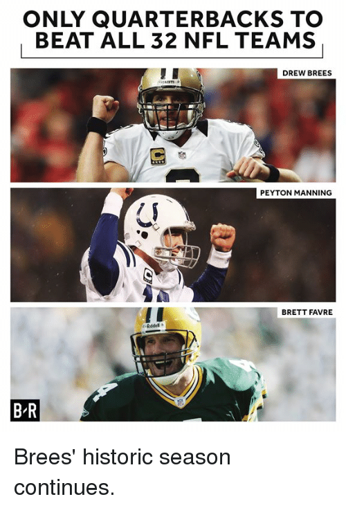 Peyton Manning: ONLY QUARTERBACKS TO  BEAT ALL 32 NFL TEAMS  DREW BREES  PEYTON MANNING  BRETT FAVRE  B-R Brees' historic season continues.