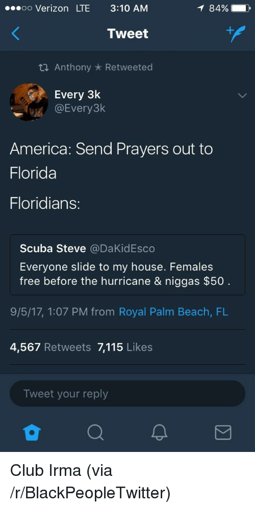 scuba: ..oo Verizon LTE 3:10 AM  8490  Tweet  th Anthony * Retweeted  Every 3k  DEvery3k  America: Send Prayers out to  Florida  Floridians:  Scuba Steve @DaKidEsco  Evervone slide to my house. Females  free before the hurricane & niggas $50  9/5/17, 1:07 PM from Royal Palm Beach, FL  4,567 Retweets 7,115 Likes  Tweet your reply <p>Club Irma (via /r/BlackPeopleTwitter)</p>