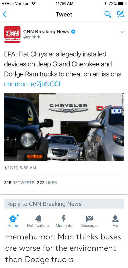 dodge ram: oo Verizon T  11:16 AM  Tweet  CNN Breaking News  CNN  a@cnnbrk  Breaking News  EPA: Fiat Chrysler allegedly installed  devices on Jeep Grand Cherokee and  Dodge Ram trucks to cheat on emissions.  cnnmon.ie/2jbNOOf  1/12/17, 8:59 AM  315 RETWEETS 222 LIKES  Reply to CNN Breaking News  Home  Notifications Moments Messages  Me memehumor:  Man thinks buses are worse for the environment than Dodge trucks