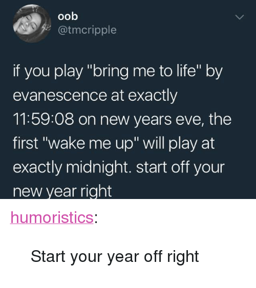 """Evanescence, Life, and New Year's: oob  z@tmcripple  if you play """"bring me to life"""" by  evanescence at exactly  11:59:08 on new years eve, the  first """"wake me up"""" will play at  exactly midnight. start off your  new year right <p><a href=""""http://humoristics.tumblr.com/post/168651802435"""" class=""""tumblr_blog"""">humoristics</a>:</p><blockquote><p>Start your year off right</p></blockquote>"""