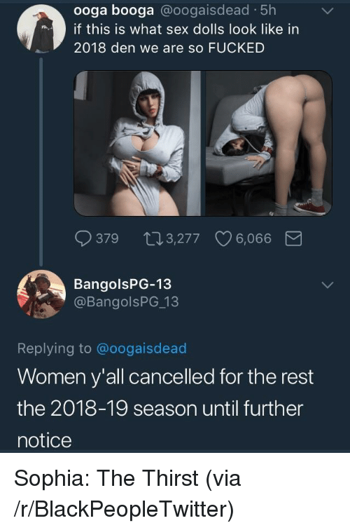 Blackpeopletwitter, Sex, and Women: ooga booga @oogaisdead 5h  if this is what sex dolls look like in  2018 den we are so FUCKED  379 103,277 6,066  BangolsPG-13  @BangolsPG 13  Replying to @oogaisdead  Women y'all cancelled for the rest  the 2018-19 season until further  notice <p>Sophia: The Thirst (via /r/BlackPeopleTwitter)</p>