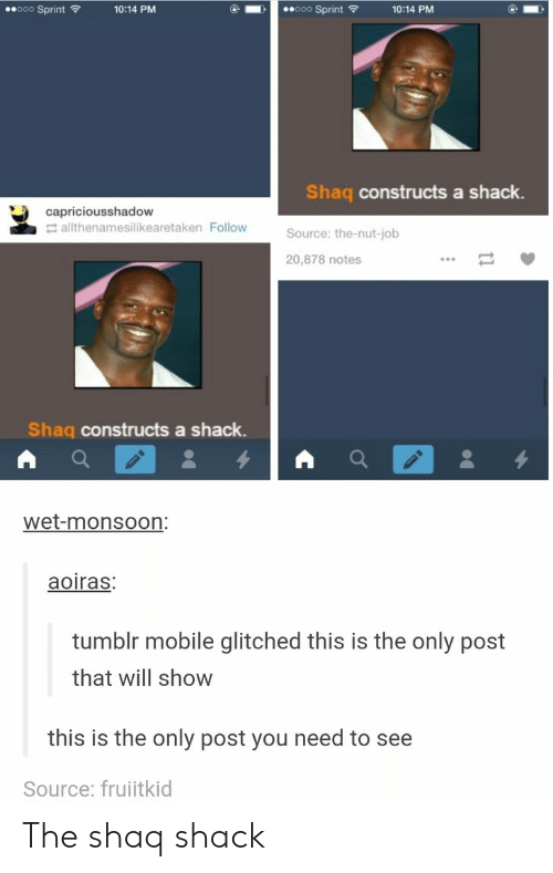 Sprint: ooo Sprint  ooo Sprint  10:14 PM  10:14 PM  Shaq constructs a shack.  capriciousshadow  allthenamesilikearetaken Follow  Source: the-nut-job  20,878 notes  Shaq constructs a shack.  wet-monsoon:  aoiras:  tumblr mobile glitched this is the only post  that will show  this is the only post you need to see  Source: fruitkid The shaq shack