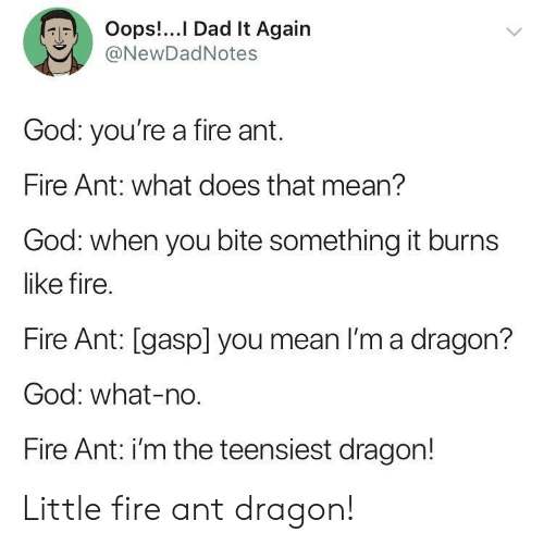 it burns: Oops!.. I Dad It Again  @NewDadNotes  God: you're a fire ant.  Fire Ant: what does that mean?  God: when you bite something it burns  like fire.  Fire Ant: [gasp] you mean I'm a dragon?  God: what-no  Fire Ant: i'm the teensiest dragon! Little fire ant dragon!