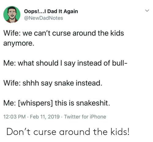 Dad, Iphone, and Twitter: Oops!...I Dad It Again  @NewDadNotes  Wife: we can't curse around the kids  anymore  Me: what should I say instead of bull-  Wife: shhh say snake instead  Me: [whispers] this is snakeshit  12:03 PM Feb 11, 2019 Twitter for iPhone Don't curse around the kids!