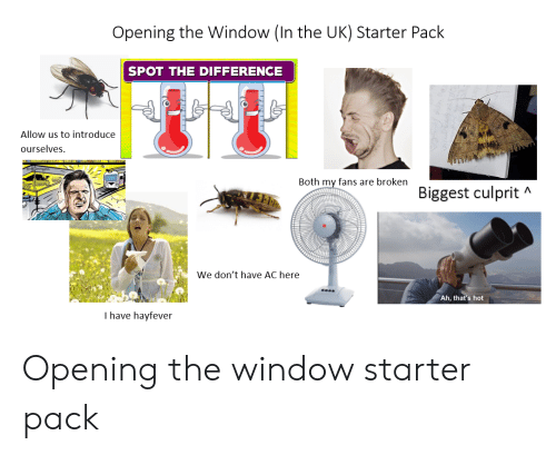 Starter Packs, Starter Pack, and Window: Opening the Window (In the UK) Starter Pack  SPOT THE DIFFERENCE  Allow us to introduce  ourselves  Both my fans are broken  Biggest culprit  A  We don't have AC here  Ah, that's hot  I have hayfever Opening the window starter pack