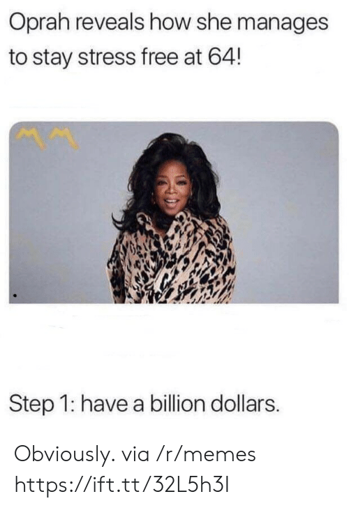 Memes, Oprah Winfrey, and Free: Oprah reveals how she manages  to stay stress free at 64!  Step 1: have a billion dollars. Obviously. via /r/memes https://ift.tt/32L5h3I