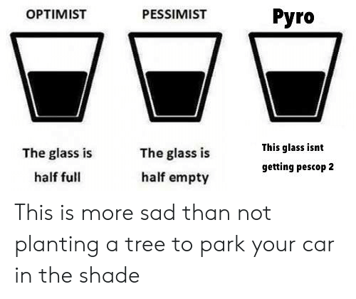 Shade, Tree, and Sad: OPTIMIST  PESSIMIST  Pyro  The glass is  half full  The glass is  half empty  This glass isnt  getting pescop 2 This is more sad than not planting a tree to park your car in the shade