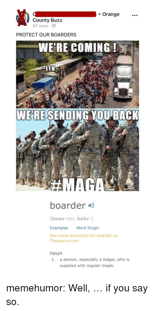 Tumblr, Blog, and Http: Orange  County Buzz  57 mins  PROTECT OUR BOARDERS  WE'RE COMING  WERE SENDING YOU BACK  boarder )  bawr-der, bohr-]  Examples Word Origin  See more synonyms for boarder on  Thesaurus.com  noun  1.  a person, especially a lodger, who is  supplied with regular meals. memehumor:  Well, … if you say so.