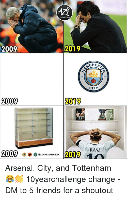 kane: ORGANIZATION  2009  2019  CHEST  18  94  CITY  2009  2019  HOST  GOALS  AND HOW  TO CLAIM  THEM  PUT  THE PRESSR  ON  AM  KANE  2009  2019 a  @AZRORGANIZATION Arsenal, City, and Tottenham 😂👏 10yearchallenge change - DM to 5 friends for a shoutout