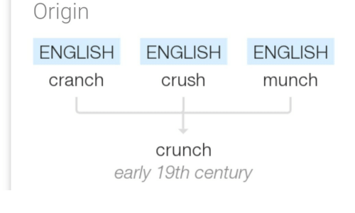 Crush, English, and Origin: Origin  ENGLISH ENGLISH ENGLISH  cranch  crush  munch  crunch  early 19th century