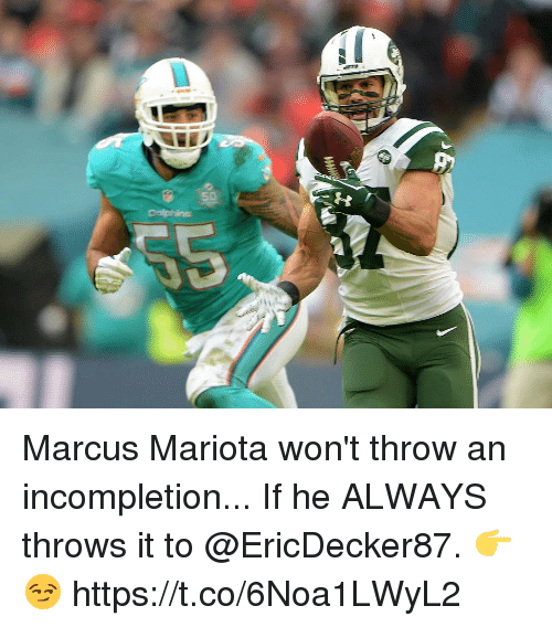 Alwaysed: os Marcus Mariota won't throw an incompletion...  If he ALWAYS throws it to @EricDecker87. 👉😏 https://t.co/6Noa1LWyL2