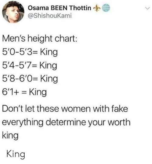 Fake, Women, and Been: Osama BEEN Thottin  @ShishouKami  Men's height chart:  5'0-5'3- King  5'4-5'7 King  5'8-6'0 King  6'1+King  Don't let these women with fake  everything determine your wortlh  king King