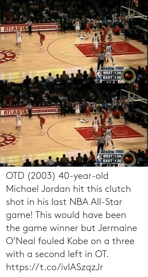 NBA All-Star Game: OTD (2003) 40-year-old Michael Jordan hit this clutch shot in his last NBA All-Star game!   This would have been the game winner but Jermaine O'Neal fouled Kobe on a three with a second left in OT.  https://t.co/ivIASzqzJr