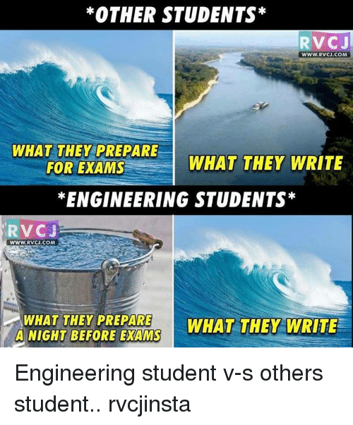 Engineering Student: *OTHER STUDENTS  RVC J  WWW.RVCJ.COM  WHAT THEY PREPARE  WHAT THEY  WRITE  FOR EXAMS  *ENGINEERING STUDENTS  RV CJ  WWW. RVCU.COM  WHAT THEY PREPARE  WHAT THEY WRITE  A NIGHT BEFORE EXAMS Engineering student v-s others student.. rvcjinsta