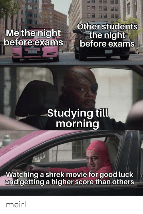 Shrek: Other students  the night  before exams  Me the night  before exams  G152  S83-5H17  Studying till  morning  Watching a shrek movie for good luck  and getting a higher score than others  Plass meirl