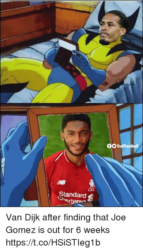 Memes, 🤖, and Joe: OTrollFootball  LF  Standard  Charte Van Dijk after finding that Joe Gomez is out for 6 weeks https://t.co/HSiSTIeg1b