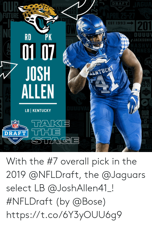 Future, Memes, and Nfl: OU  FUTURE  DRAFT  AS  2019  NSSEE  201  EST 1993-I  DUUU  JACKSONV  RD PK  01 0  JOSH  ALLEN  DR  199  ENTUCKY  PRIL  25-27  DRAF  LBI KENTUCKY  OUR  FUTURE  -IS  OW  APRIL  25-27  NFL  DRAFT  2019  ST  993  NFL With the #7 overall pick in the 2019 @NFLDraft, the @Jaguars select LB @JoshAllen41_! #NFLDraft (by @Bose) https://t.co/6Y3yOUU6g9