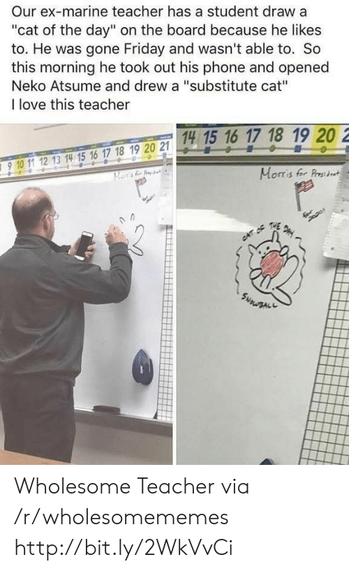 "Friday, Love, and Phone: Our ex-marine teacher has a student draw a  ""cat of the day"" on the board because he likes  to. He was gone Friday and wasn't able to. So  this morning he took out his phone and opened  Neko Atsume and drew a ""substitute cat""  I love this teacher  14 15 16 17 18 19 20 2  15 1  910 11 12 13 14 15 16 17 18 19 20 2  910 1 12 13 14 15 16 17 18 19 20 21  Morris fer Prst Wholesome Teacher via /r/wholesomememes http://bit.ly/2WkVvCi"