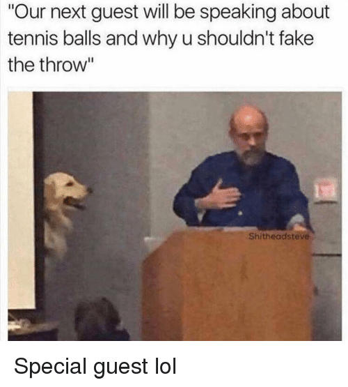 """Fake, Funny, and Lol: Our next guest will be speaking about  tennis balls and why u shouldn't fake  the throw""""  Shitheadsteve Special guest lol"""