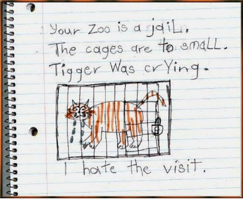 Tiggered: our Zoo is a gdili  The cages are to omaLL.  Tigger Was crying  hate the visit