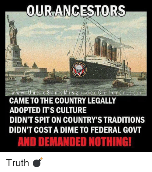 Children, Memes, and Truth: OURANCESTORS  1773  w w w tUncle S a m s Mis guided Children com  CAME TO THE COUNTRY LEGALLY  ADOPTED IT'S CULTURE  DIDN'T SPIT ON COUNTRY'S TRADITIONS  DIDN'T COST A DIME TO FEDERAL GOVT  AND DEMANDED NOTHING! Truth 💣