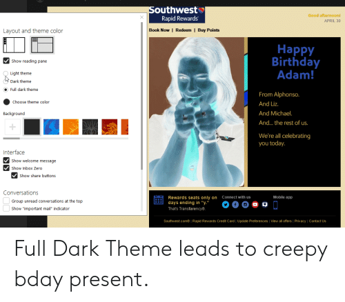 """Birthday Adam: outhwest  Rapid Rewards  Good afternoonl  APRIL 30  Layout and theme color  Book Now 