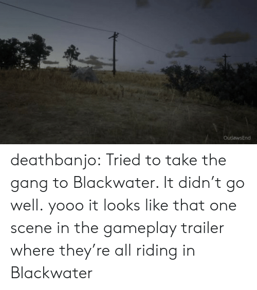 trailer: OutlawsEnd deathbanjo: Tried to take the gang to Blackwater. It didn't go well.  yooo it looks like that one scene in the gameplay trailer where they're all riding in Blackwater