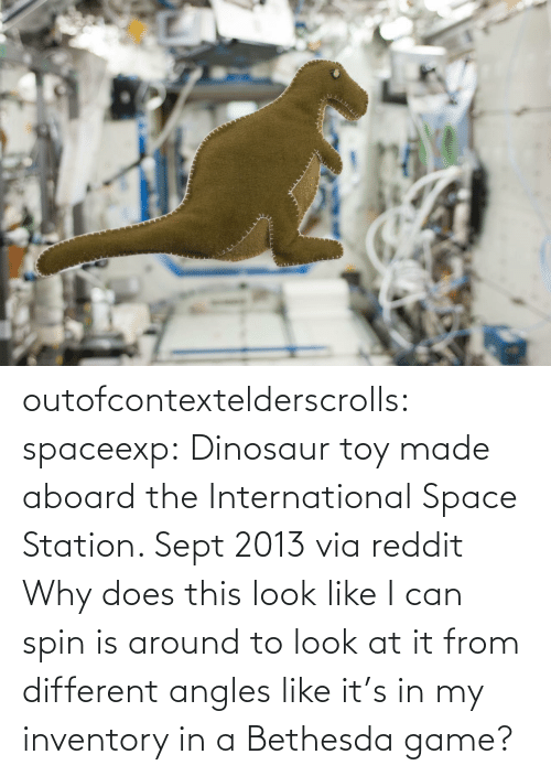 the international: outofcontextelderscrolls: spaceexp:  Dinosaur toy made aboard the International Space Station. Sept 2013 via reddit   Why does this look like I can spin is around to look at it from different angles like it's in my inventory in a Bethesda game?
