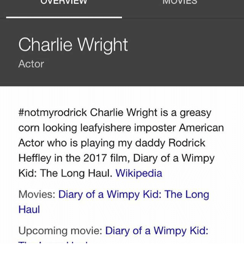 Overview iv movies charlie wright actor notmyrodrick charlie wright overview iv movies charlie wright actor notmyrodrick charlie wright is a greasy corn looking leafyishere imposter american actor who is playing my daddy solutioingenieria Choice Image