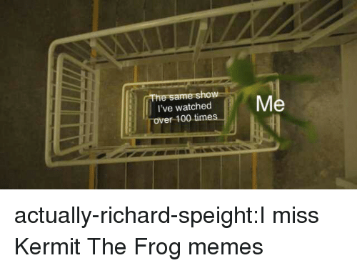 Kermit the Frog: ow  I've watched  ver 100 time actually-richard-speight:I miss Kermit The Frog memes