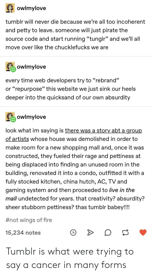 "Fire, Petty, and Shopping: owlmylove  tumblr will never die because we're all too incoherent  and petty to leave. someone will just pirate the  source code and start running ""tunglr"" and we'll all  move over like the chucklefucks we are  owlmylove  every time web developers try to ""rebrand""  or ""repurpose"" this website we just sink our heels  deeper into the quicksand of our own absurdity  owlmylove  look what im saying is there was a storY abt a group  of artists whose house was demolished in order to  make room for a new shopping mall and, once it was  constructed, they fueled their rage and pettiness at  being displaced into finding an unused room in the  building, renovated it into a condo, outfitted it with a  fully stocked kitchen, china hutch, AC, TV and  gaming system and then proceeded to live in the  mall undetected for years. that creativity? absurdity?  sheer stubborn pettiness? thas tumblr babey!!!!  #not wings of fire  15,234 notes Tumblr is what were trying to say a cancer in many forms"