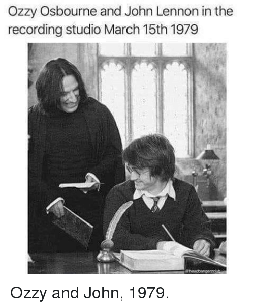 John Lennon, Ozzy Osbourne, and Ozzy: Ozzy Osbourne and John Lennon in the  recording studio March 15th 1979 Ozzy and John, 1979.