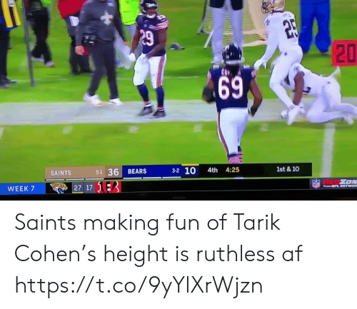 Af, Football, and Nfl: P29  1st & 10  3-2 10  4th 4:25  5-1 36  BEARS  SAINTS  ZON  NFL From NFL NETWOR  27 17 13  WEEK 7  ASD  20  69 Saints making fun of Tarik Cohen's height is ruthless af  https://t.co/9yYlXrWjzn