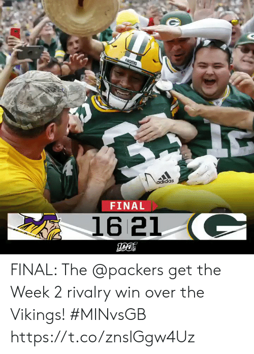 Adidas, Memes, and Packers: PACKERS  adidas  FINAL  16 21 C FINAL: The @packers get the Week 2 rivalry win over the Vikings! #MINvsGB https://t.co/znslGgw4Uz