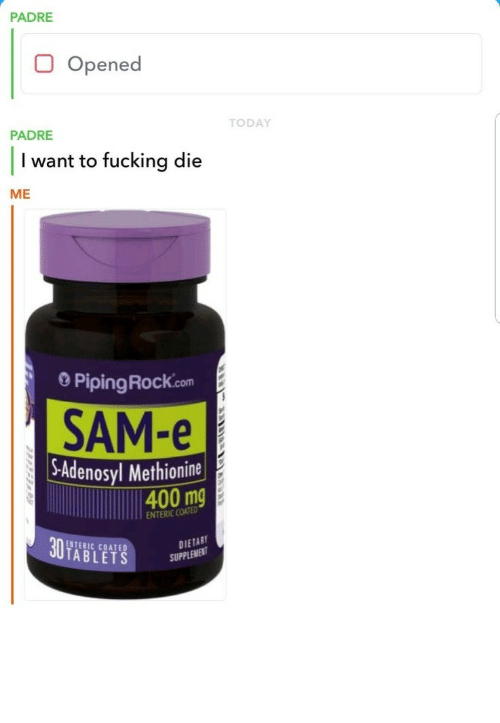 Tablets: PADRE  Opened  TODAY  PADRE  I want to fucking die  ME  0 PipingRock.com  SAM-e  -Adenosyl Methionine  400 mg  ENTERIC COATED  ENTERIC COATED  TABLETS  DIETAB