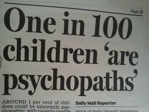 psy: Page 25  One in 100  children are  psychopaths  AROUND 1 per cent of chil- Daily Mail Reporter  dren could be inherently psy-  chonathic with narentsunahle groun of hadly hehaved voungsters